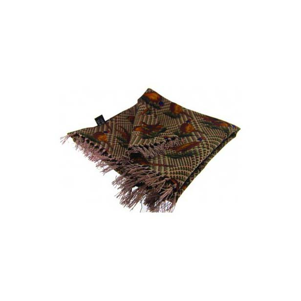 Standing Pheasants On Tweed Silk Aviator Scarf