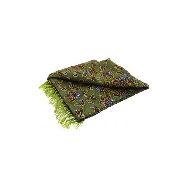 Morris Paisley On A Country Green Silk Aviator Scarf