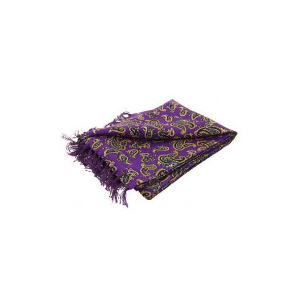 Morris Paisley On A Purple Silk Aviator Scarf