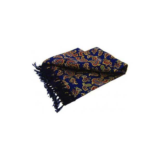 Edwardian Paisley On A Deep Blue Silk Aviator Scarf