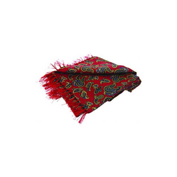 Edwardian Paisley On A Deep Red Silk Aviator Scarf