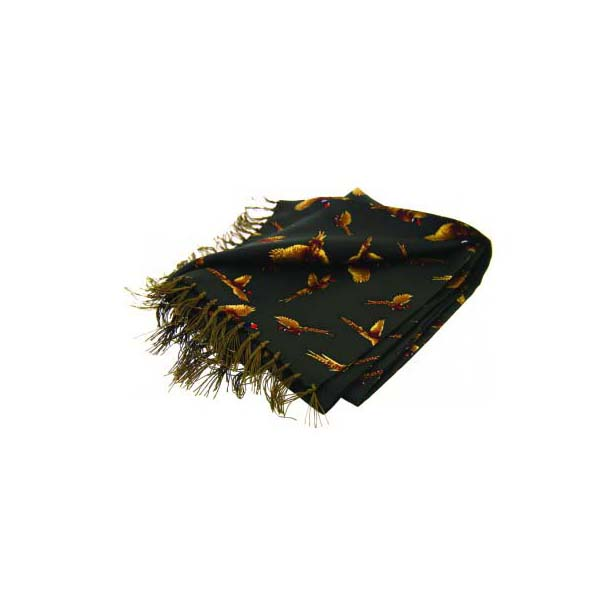 Flying Pheasants On A Moss Green Silk Aviator Scarf