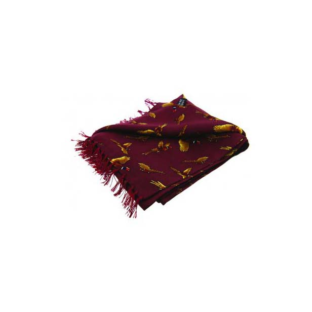 Flying Pheasants On A Wine Silk Aviator Scarf
