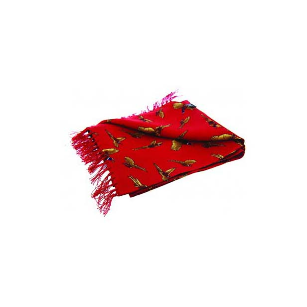 Flying Pheasants On A Red Silk Aviator Scarf