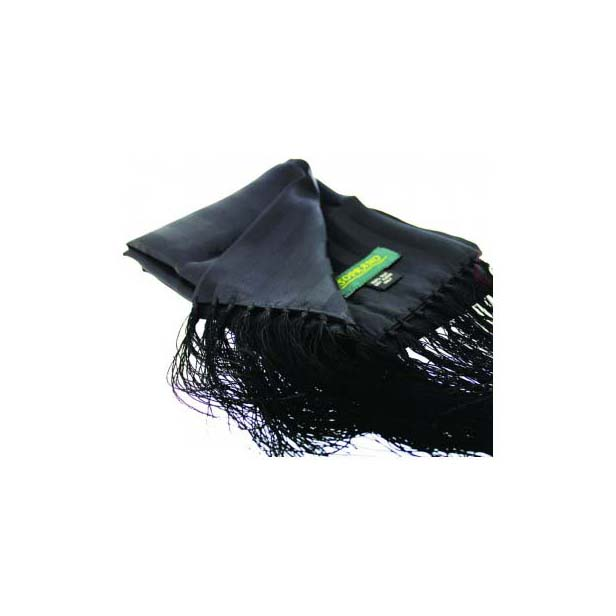 Black Silk Evening Scarf with Tassel Trim