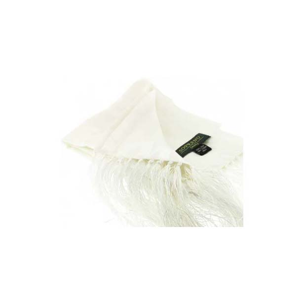 White Silk Evening Scarf with Tassel Trim