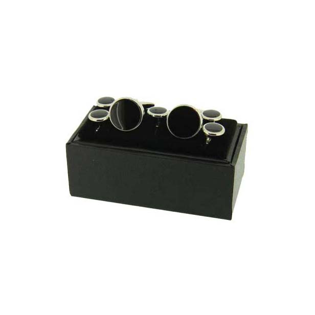 Black with Silver Edging Enamel Cufflinks, with 5 Piece Matching Stud Set