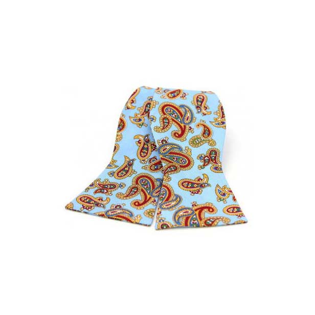 Edwardian Paisley Print on Sky Blue Silk Self Tie Bow Tie
