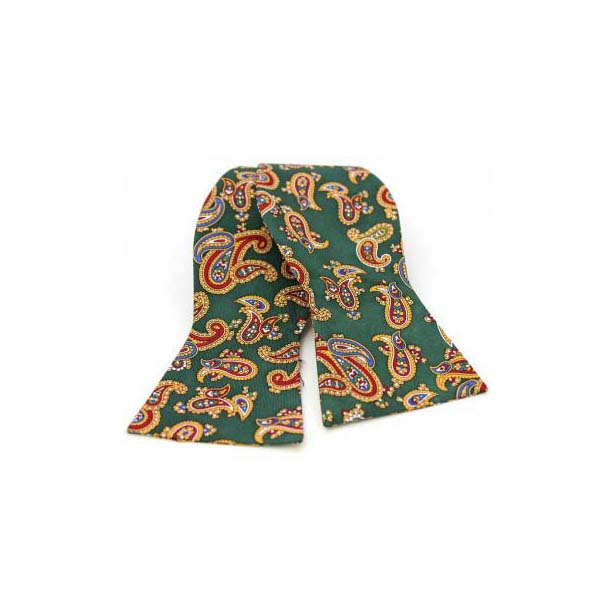 Edwardian Paisley Print on Forest Green Silk Self Tie Bow Tie