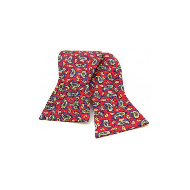 Edwardian Paisley Print on Red Silk Self Tie Bow Tie