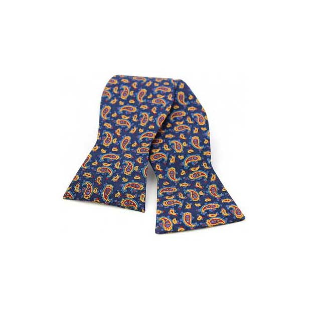 Edwardian Paisley Print on a Navy Silk Self Tie Bow Tie