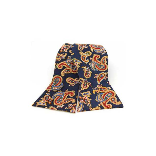 Edwardian Paisley on a Navy Silk Twill Self Tie Bow Tie