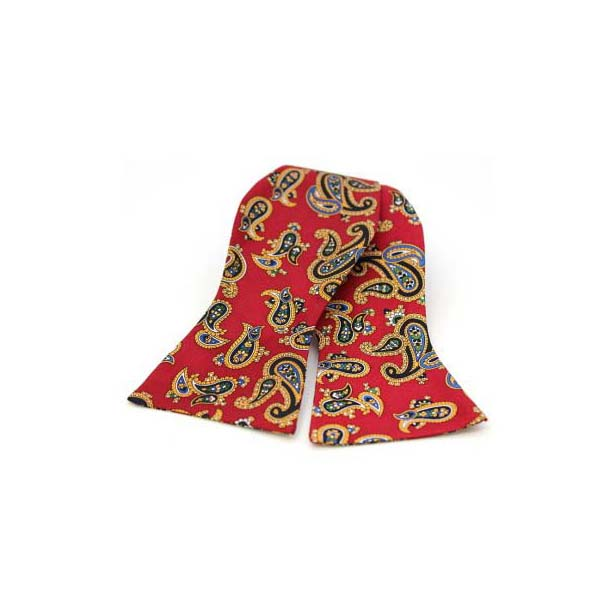 Edwardian Paisley on Deep Red Silk Twill Self Tie Bow Tie