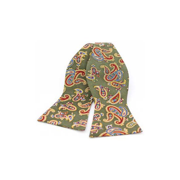 Edwardian Paisley on Moss Green Silk Twill Self Tie Bow Tie