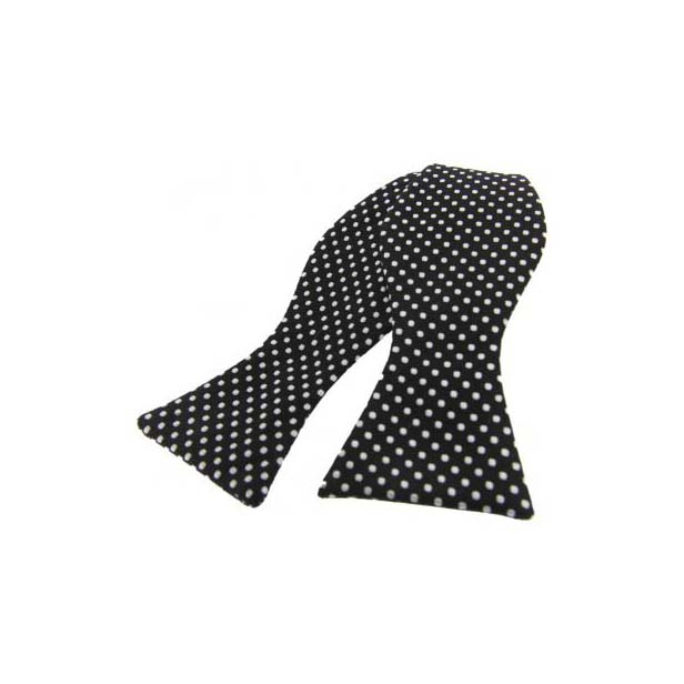 White Pin Dot on Black Silk Self Tie Bow Tie