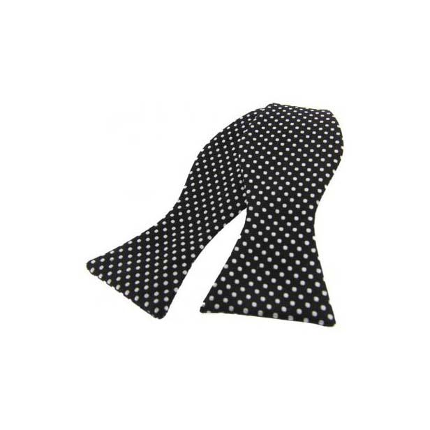 White Pin Dot on Black Silk Self Tie Bow Tie