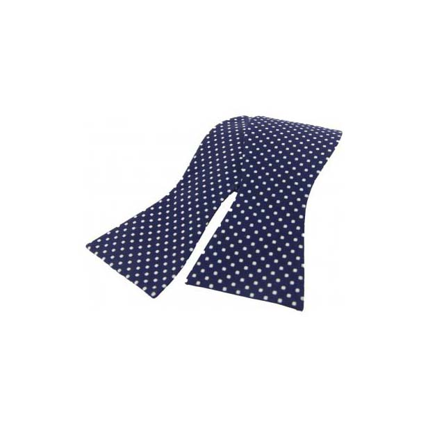 White Pin Dot on a Navy Silk Self Tie Bow Tie