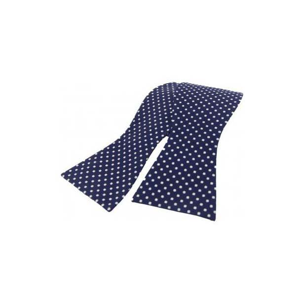 White Pin Dot on a Navy Silk Self Tie Bow Tie
