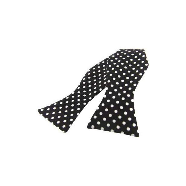 White Polka Dots on Black Silk Self Tie Bow Tie