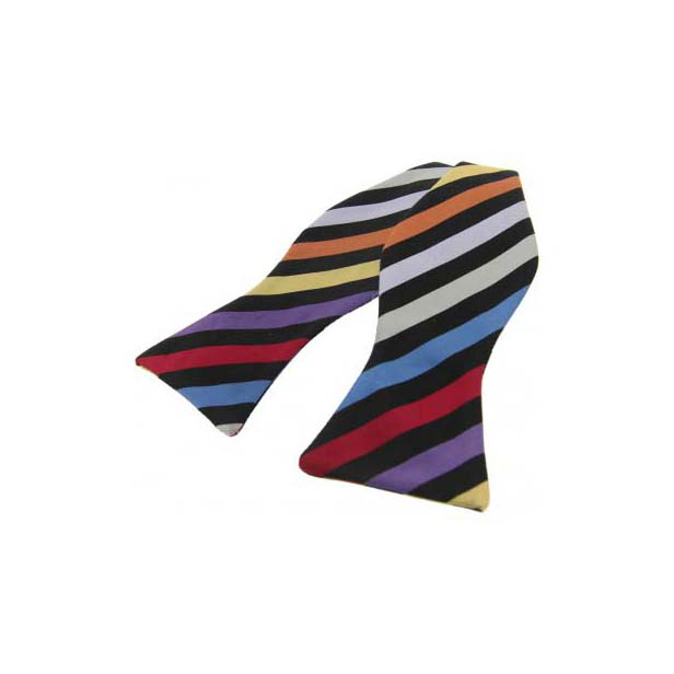 Multi Coloured Rainbow Striped Silk Self Tied Bow
