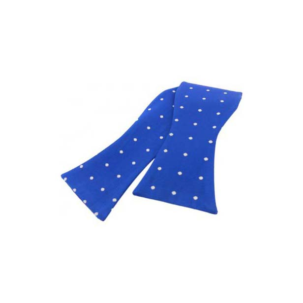 White Polka Dot On Royal Blue Silk Self Tied Bow