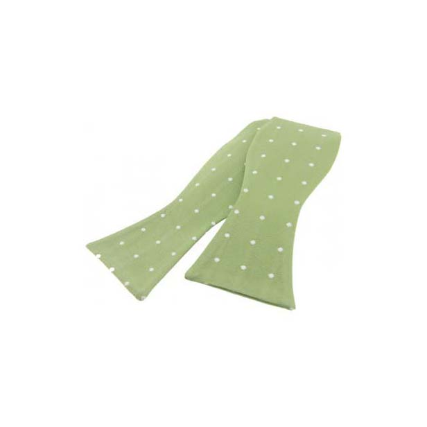 White Polka Dot On Light Green Silk Self Tied Bow