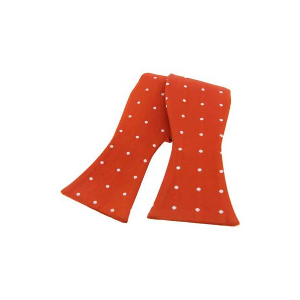 White Polka Dot On Burnt Orange Silk Self Tied Bow