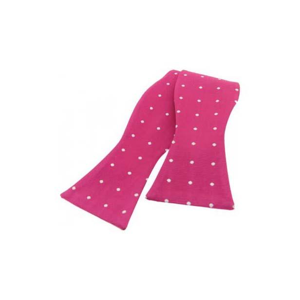 White Polka Dot On Fuchsia Pink Silk Self Tied Bow