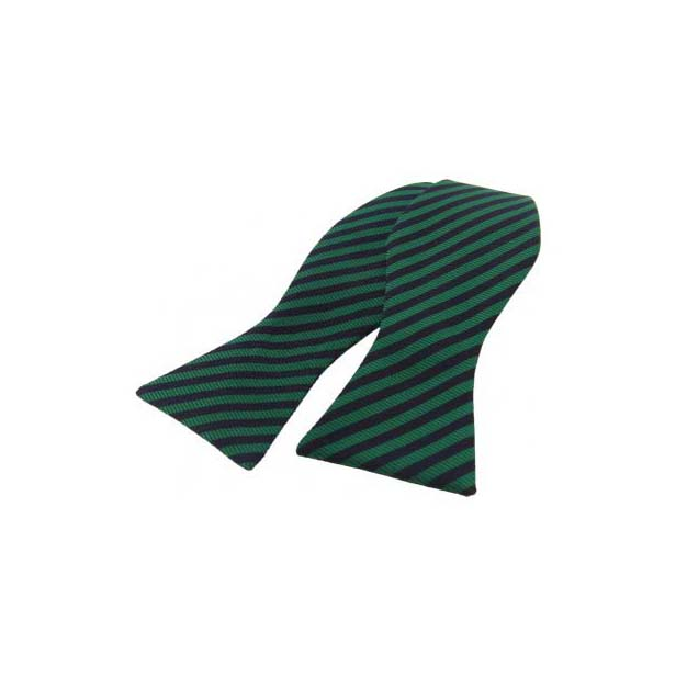 Regimental Green and Navy Striped Silk Self Tied Bow