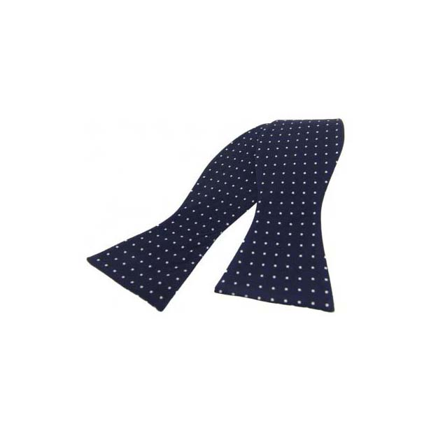 Navy with White Pin Dot Silk Self Tied Bow