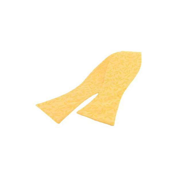 Golden Yellow Edwardian Style Tonal Leaf Silk Self Tied Bow