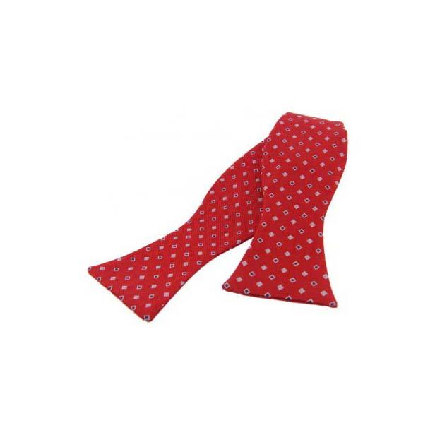 Navy and Sky Blue Diamonds on Red Silk Self Tie Bow Tie
