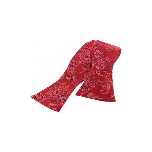 Red on Pink Silk Edwardian Paisley Self Tied Bow