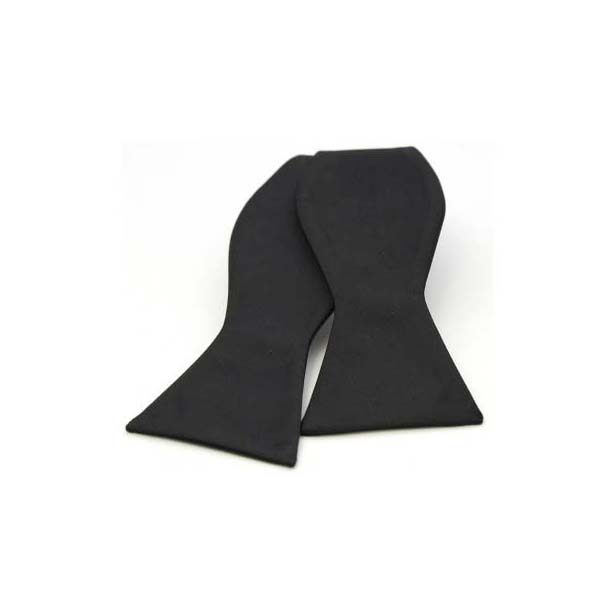 Black Satin Silk Luxury Self Tied Bow Tie