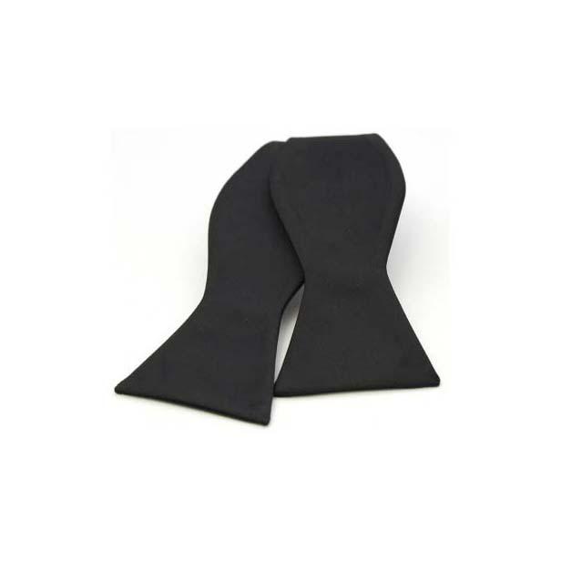 Black Satin Silk Luxury Self Tied Bow Tie