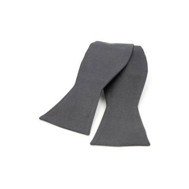 Slate Grey Satin Silk Luxury Self Tied Bow Tie