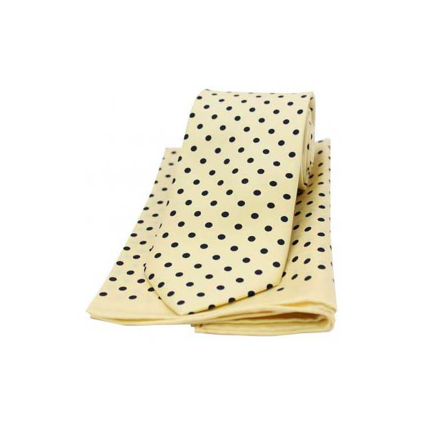 Yellow and Black Polka Dot Matching Silk Tie and Pocket Square