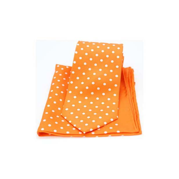 Orange and White Polka Dot Matching Silk Tie and Pocket Square