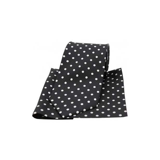 Black and White Polka Dot Matching Silk Tie and Pocket Square