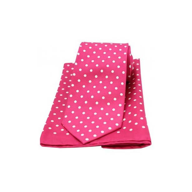 Pink and White Polka Dot Matching Silk Tie and Pocket Square