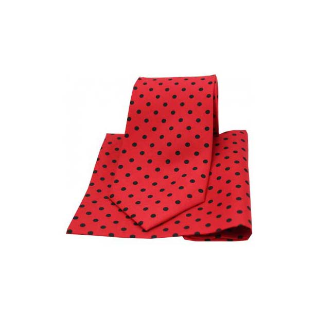 Red and Black Polka Dot Matching Silk Tie and Pocket Square