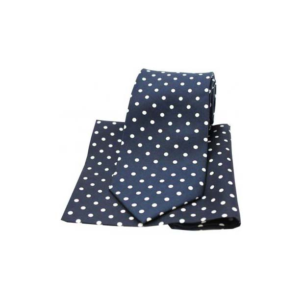 Navy and White Polka Dot Matching Silk Tie and Pocket Square