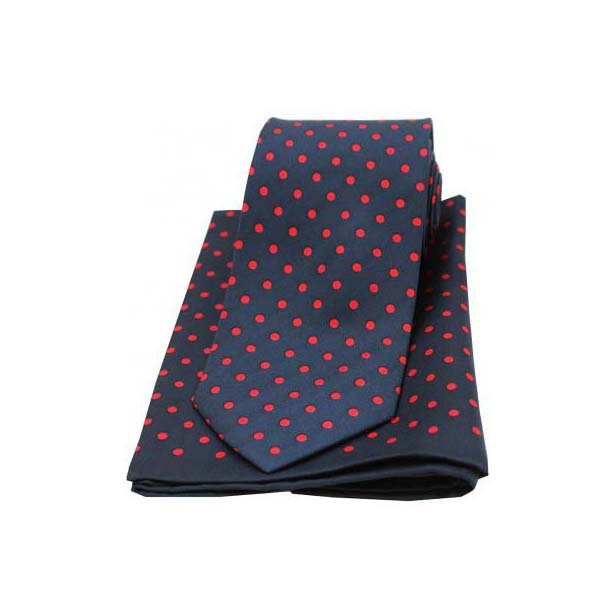 Navy and Red Polka Dot Matching Silk Tie and Pocket Square