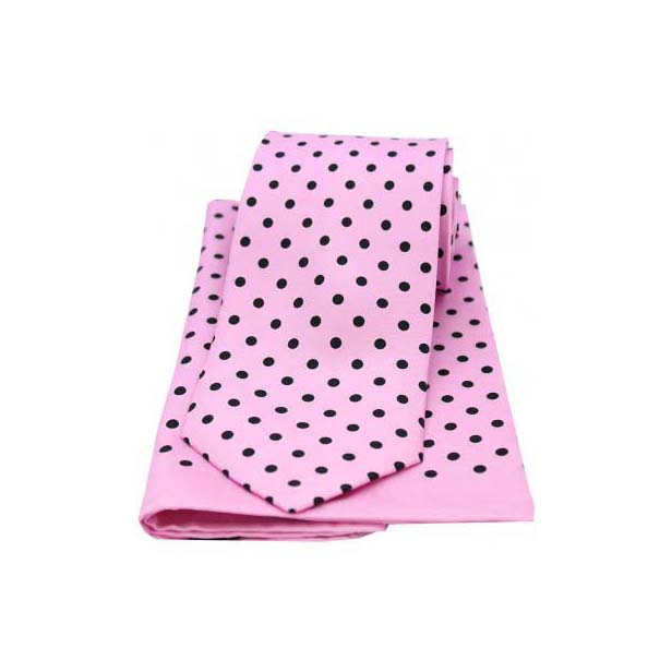 Pink and Black Polka Dot Matching Silk Tie and Pocket Square
