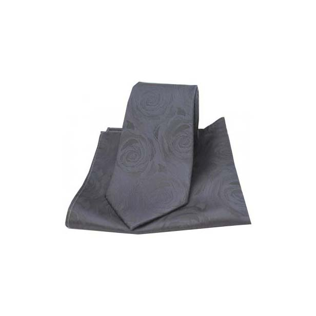 Grey Silk Rose Pattern Matching Tie and Pocket Square