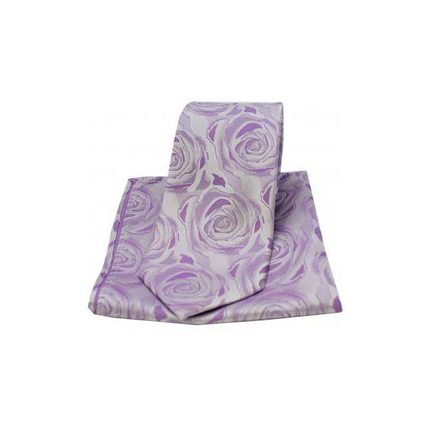 Lilac Silk Rose Pattern Matching Tie and Pocket Square