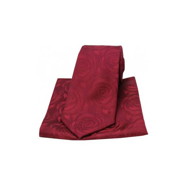 Wine Silk Rose Pattern Matching Tie and Pocket Square