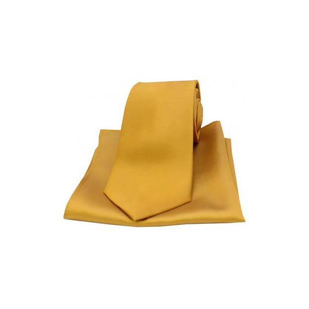 Gold Satin Silk Matching Tie and Pocket Square