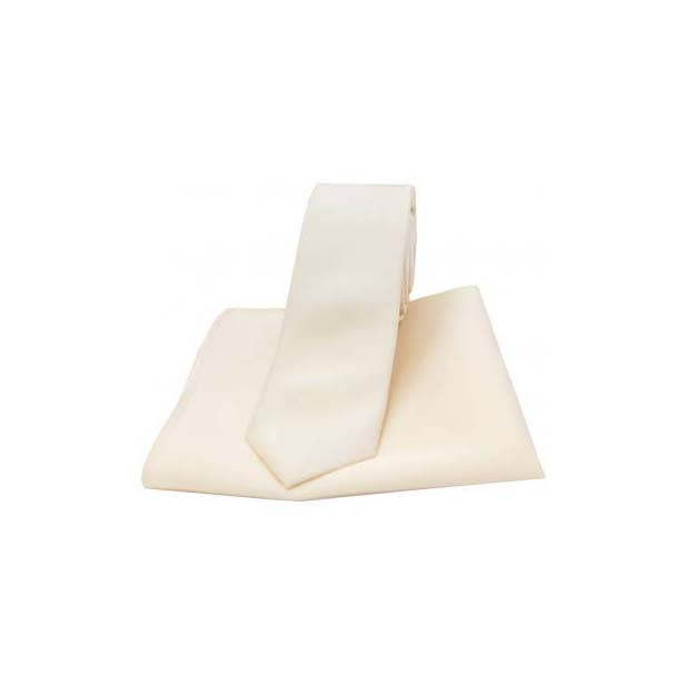 Ivory Satin Silk Matching Thin Tie and Pocket Square