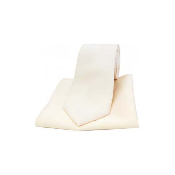 Ivory Satin Silk Matching Tie and Pocket Square